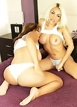 Two Busty Babes playing with A Scary Shecock