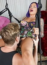 In this hot hardcore Foxxy and Damien try out the new love swing,it works well for giving Foxxy a deepthroat blowjob!
