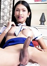 Peach is an amazing young ladyboy with a smoking hot body, beautiful big boobs and long legs! She loves posing for the camera and stroking her cock!