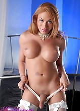 Hot TS Mia Isabella posing in sexy white lingerie